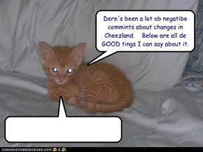 Dere's been a lot ob negatibe commints about changes in Cheezland.    Below are all de GOOD tings I can say about it.