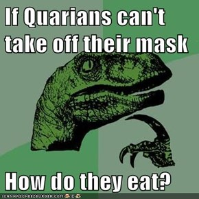 If Quarians can't take off their mask  How do they eat?