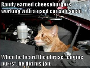 """Randy earned cheeseburgers working with a used car salesman.  When he heard the phrase """"engine purrs"""", he did his job."""