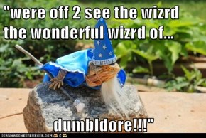 """were off 2 see the wizrd the wonderful wizrd of...  dumbldore!!!"""