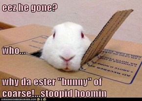 "eez he gone? who... why da ester ""bunny"" of coarse!...stoopid hoomin"