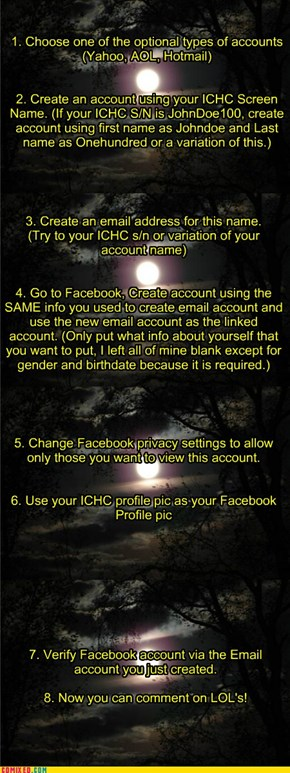 Creating Anonymous Facebook Account By Using Your ICHC Screen Name