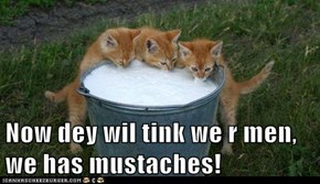 Now dey wil tink we r men, we has mustaches!