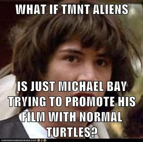WHAT IF TMNT ALIENS  IS JUST MICHAEL BAY TRYING TO PROMOTE HIS FILM WITH NORMAL TURTLES?