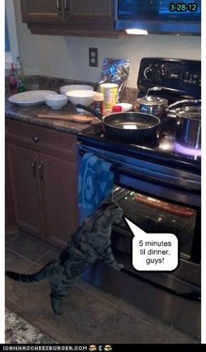 5 minutes til dinner, guys!
