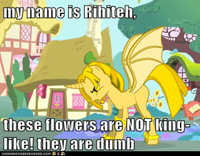 my name is Rihiteh,  these flowers are NOT king-like! they are dumb