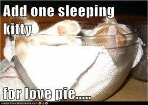 Add one sleeping kitty  for love pie.....