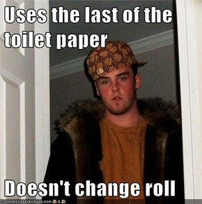 Uses the last of the toilet paper  Doesn't change roll
