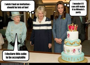 Royal family verifying quality of Winnie-Wonka's cake