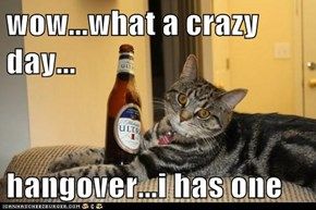 wow...what a crazy day...  hangover...i has one