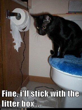 Fine, i'll stick with the litter box...