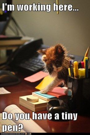I'm working here...  Do you have a tiny pen?