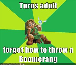 Turns adult  forgot how to throw a Boomerang