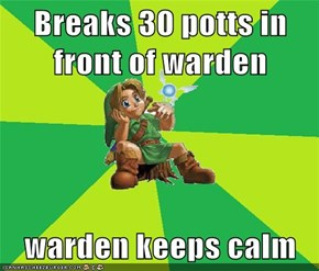 Breaks 30 potts in front of warden  warden keeps calm