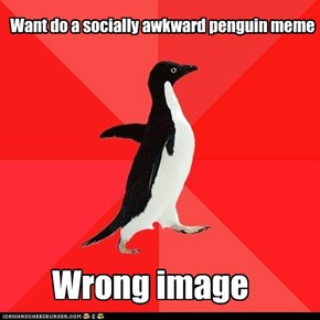 Want do a socially awkward penguin meme