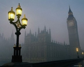 Fog at Dusk, London, England