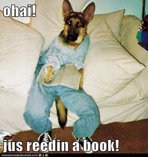 ohai!  jus reedin a book!