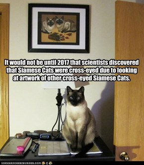 It would not be until 2017 that scientists discovered that Siamese Cats were cross-eyed due to looking at artwork of other cross-eyed Siamese Cats.