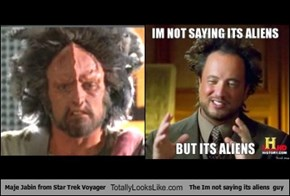 Maje Jabin from Star Trek Voyager Totally Looks Like Conspiracy Aliens Meme (Giorgio A Tsoukalos)