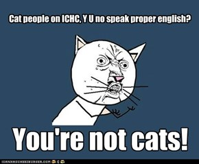 Cat people on ICHC, Y U no speak proper english?