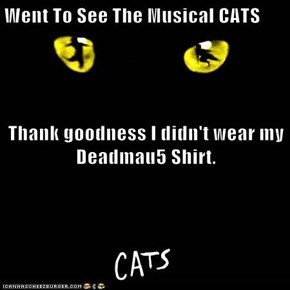 Went To See The Musical CATS Thank goodness I didn't wear my Deadmau5 Shirt.