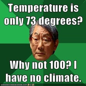 Temperature is only 73 degrees?  Why not 100? I have no climate.