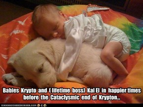Babies  Krypto  and  ( lifetime  boss)  Kal El  in  happier times before  the  Cataclysmic  end  of  Krypton...