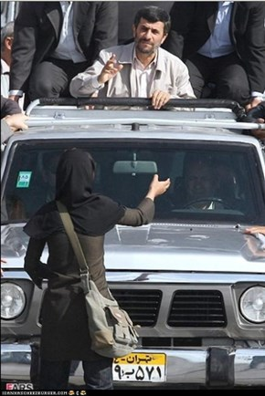 Woman blocks Ahmadinejad's car