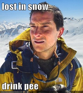 lost in snow  drink pee