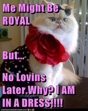 Me Might Be ROYAL But... No Lovins Later.Why? I AM IN A DRESS!!!!
