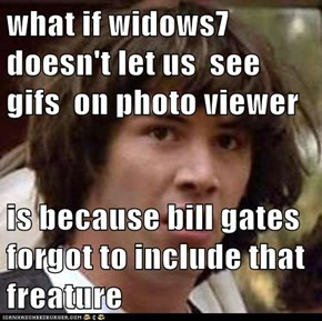 what if widows7 doesn't let us  see gifs  on photo viewer   is because bill gates forgot to include that freature