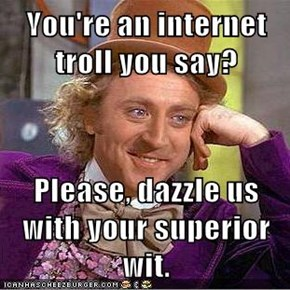 You're an internet troll you say?   Please, dazzle us with your superior wit.