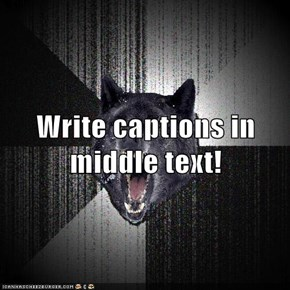 Write captions in middle text!