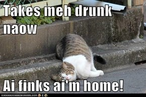 Takes meh drunk naow  Ai finks ai'm home!