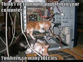 Think I've found the problem in your computer  You have so many LOLcats