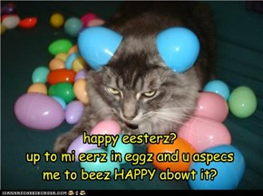 happy eesterz?up to mi eerz in eggz and u aspecs me to beez HAPPY abowt it?