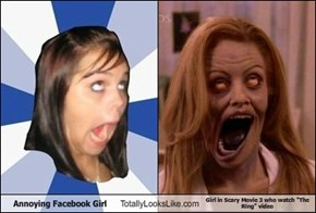"Annoying Facebook Girl Totally Looks Like Girl in Scary Movie 3 who watch ""The Ring"" video"