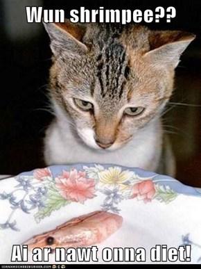 Wun shrimpee??  Ai ar nawt onna diet!