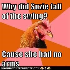 Why did Suzie fall of the swing?  Cause she had no arms