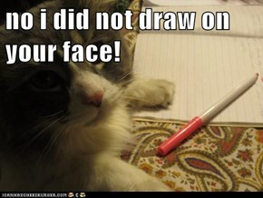 no i did not draw on your face!