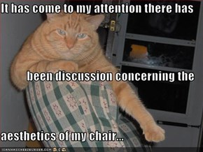 It has come to my attention there has been discussion concerning the aesthetics of my chair...