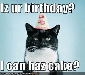 Iz ur birthday?  I can haz cake?