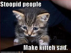 Stoopid people  Make kitteh sad.