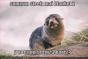 sumwun steelz mai blanket 2  y noewun seemz 2 karez?