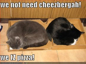 we not need cheezbergah!   we IZ pizza!